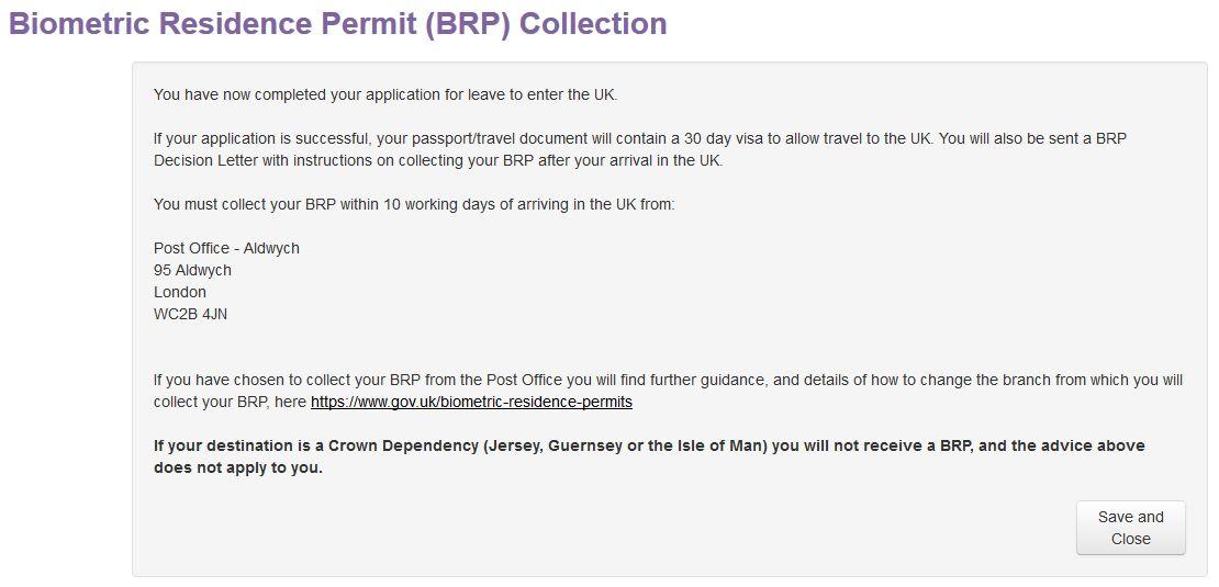 Biometric Residence Permit (BRP) Collection